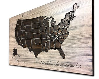 Push Pin Map, Wooden US Map, Wood wall art, Home Wall Decor, United States Map with States, Vintage Map, Travel Sign, Anniversary Gift Idea