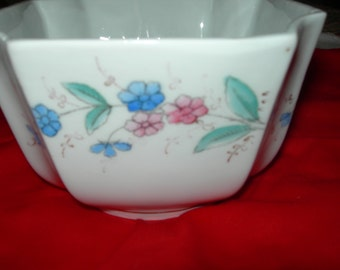 Pretty Hand Painted Floral Ceramic Bowl With Pinched Corners
