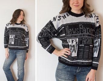 SALE! Vintage Newspaper Sweater | Black and White Newspaper Sweater