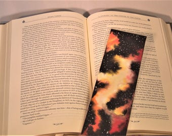 Watercolour Galaxy Bookmark Red