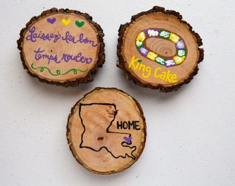 Set of 3 Hand Painted Mardi Gras Carnival~ Magnets~ Wood Tree Slice~ Louisiana~King Cake~ 3 Inches~