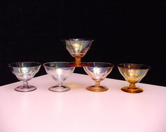 5 art deco optical blown liqueur glasses, with mother of pearl finish