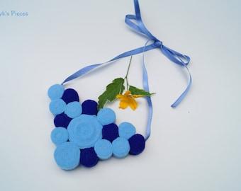 Felt Bib Necklace - Shades of Blue Felt Necklace OOAK - Eco-friendly