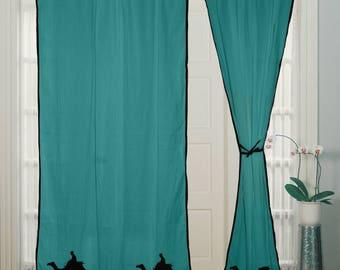 Rod Pocket curtain, Hand Block Printed, Cotton Curtain, Door Window, Treatment, Turquoise Curtain Panels,
