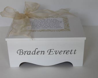 Baby Keepsake Box Baby Memory Box precious baby poem ivory damask personalized baby neutral gift best baby shower gift