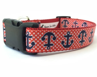 """1"""" Wide Red White and Blue Nautical Anchors Adjustable Pet Dog Collar with Plastic Side Release Buckle"""