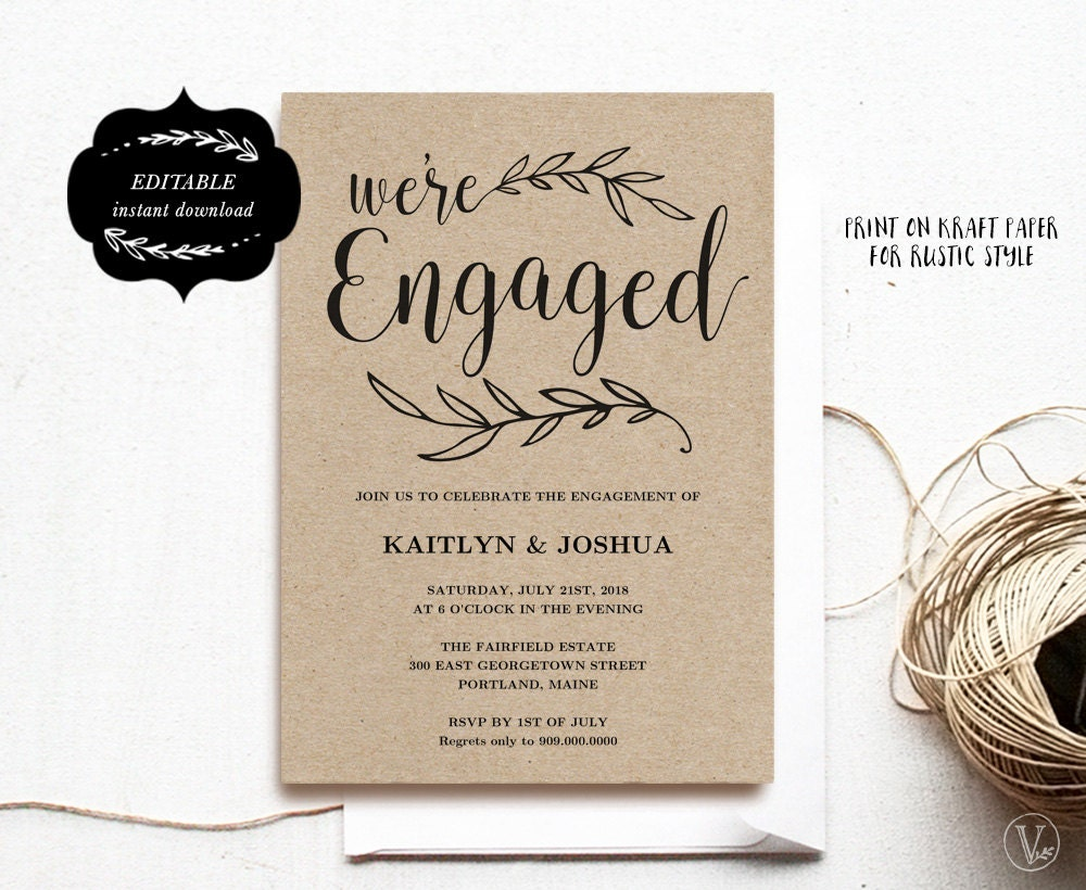 Engagement invitation template printable engagement party zoom stopboris Images