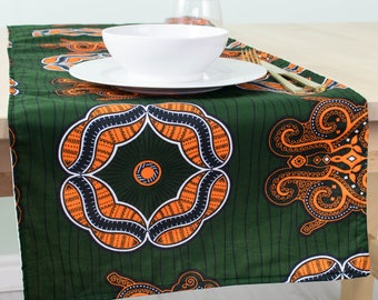 Superbe African Print Table Runner   Table Runner   Kitchen And Dining   Table Linen    Table Cloth   Table Runner   Forest Green And Orange