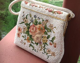 White Beaded Purse, Floral Petit Point Evening Purse