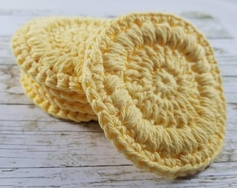 Cotton crochet face scrubbies, cotton facial rounds, makeup remover, reusable face pads, washcloth, spa gift, dish scrubbers,