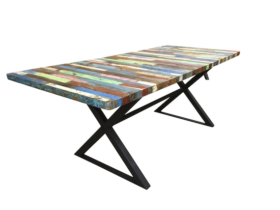 These 6 Pieces Of Colorful Furniture Are Absolute Must Haves: Reclaimed Dining Table Bali Boat Wood Table Custom Tabletop
