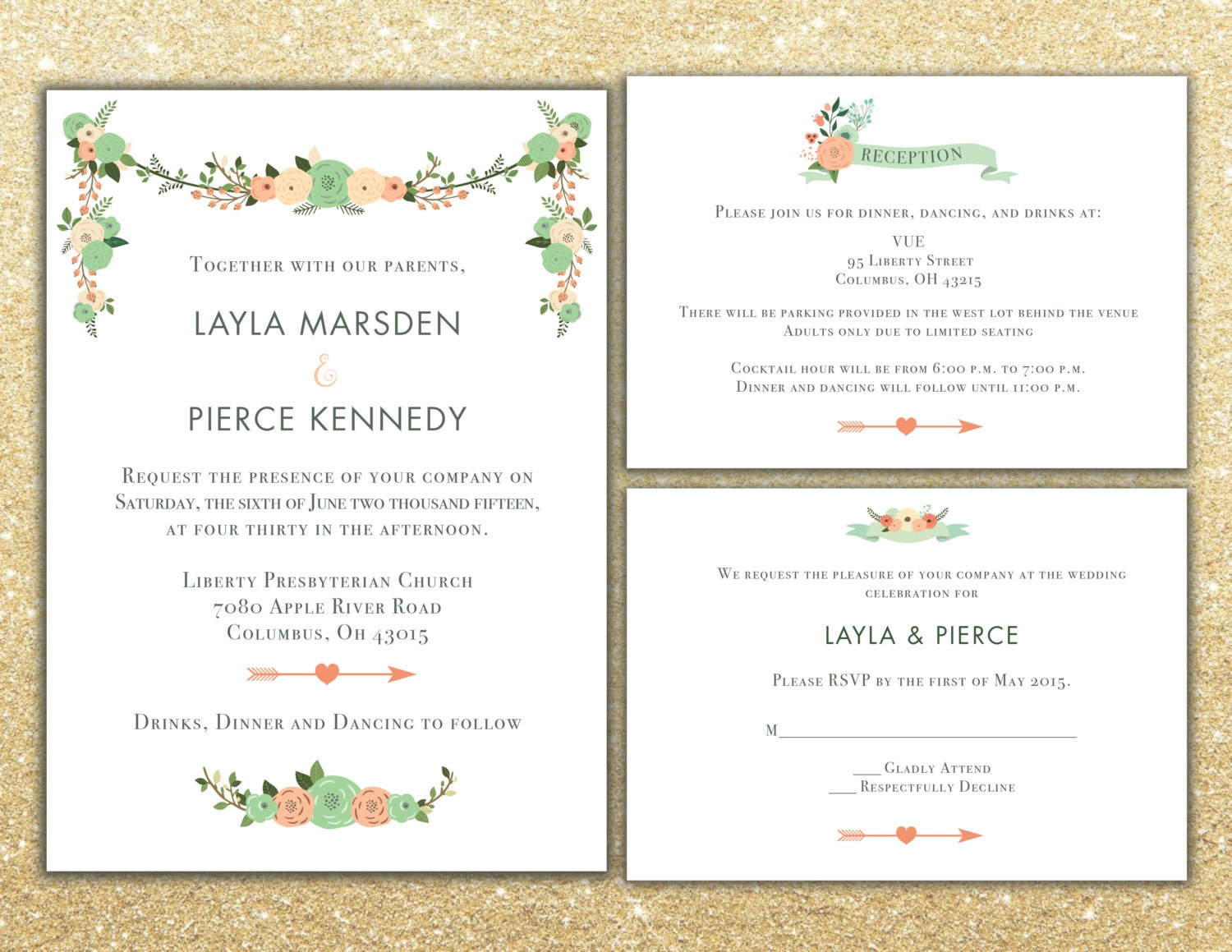 Printable Floral Wedding Invitation package RSVP and info