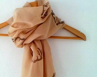Wide Antler Scarf in Beige Camel  , woodland cotton yemeni  scarf, hand stamped lightweight scarf, spring fashion, wedding accessory