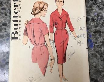 RARE 1950S Butterick Sewing Pattern 9334 Misses Tailored Shirtwaist Slim Dress  Size 18 cut- 1950s tailored dress pattern, shirtwaist dress
