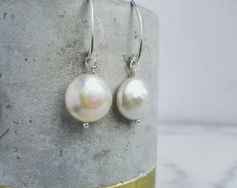 Pearl earrings - Classic ivory coin Pearl drops