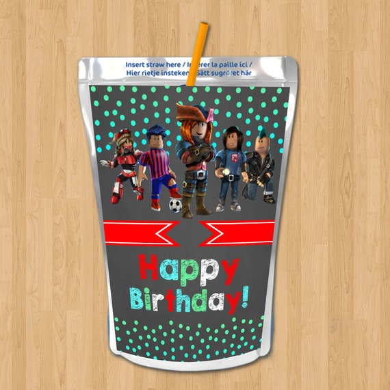 Roblox Birthday Capri Sun Labels - Chalkboard Roblox Drink Labels - Roblox Birthday Party - Roblox Party Favors - Roblox Party Printables