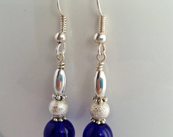 Cobalt Blue Earrings/Blue Dangle & Drop Earrings/Dark Blue Earrings/Blue and Silver Earrings/Gifts under 20/Stocking Stuffers for Her/E3