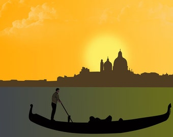 Venice art print-Gondola poster-Italy print-Yellow Sunset poster-Decorative Art Print-Large Print-Glicee Print-Panorama