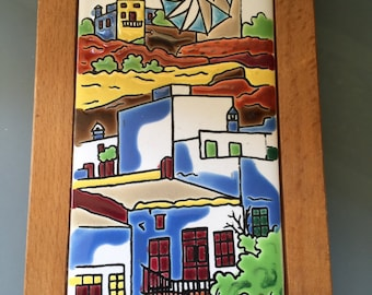 Vintage  Neofitou Keramik Tile, Greek Hillside Village with Windmill, Handmade and Painted in Bold Color