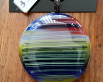 Sunrise Stripes Fused Glass Pendant