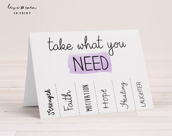 """Infertility Card: """"Take What You Need"""" Hope, Strength, Faith - PCOS / IUI / IVF / ttc - 5"""" x 7"""" Folded (Blank Inside) - Envelope Included"""