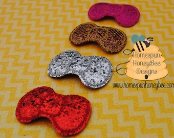 Glitter Snap Clip Set - 3 Hair Clips - Top Knot Trio - Gold, Silver, Red Bang Clip - 2 inch Snap In Bow - Bun Clip - Sparkly 2 Inch Hair Bow