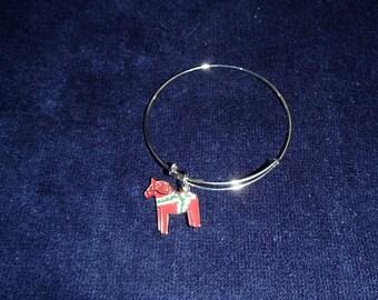 Swedish Dala Horse Bangle Bracelet #BC39