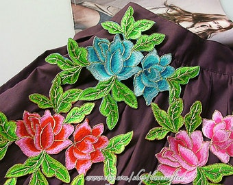 Corded Lace Trim, Pink Blue Orange Rose Flower Lace Applique Green Leaves, Shabby Chic Flower Patch, Iron on Applique