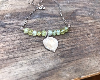 Prehnite and sterling leaf necklace
