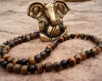 Mens Beaded Necklace, Tiger Eye Necklace, Tiger Eye Jewelry, Mens Beaded Jewelry, Women's Beaded Necklace, Necklace for Men