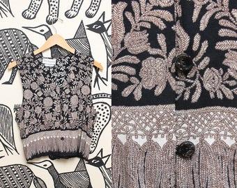 Floral Boho Cropped Vest // 80s Short Sleeve Brown Black Top // 1980s Tie Back Bohemian Hippie Shirt Size Medium