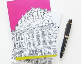Edinburgh Journal, Pink Journal, Scottish Travel Journal,  Edinburgh Castle Notebook, A5 sketchbook, blank paper