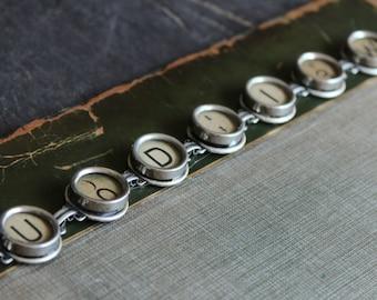 Typewriter Key Bracelet, original, vintage, antique, jewelry assemblage, steampunk, recycled, repurposed, up cycled