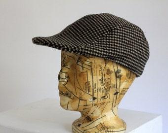 Houndstooth Grey Black Dark charcoal brown Flatcap Newsboy Golf Indie Hat Cap Beret Scally 90s Mens Italian made wool mix