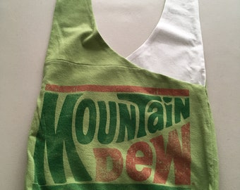 Handmade Upcycled Green Mountain Dew Hobo Shoulder Purse