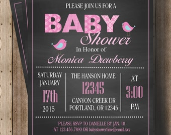 GIRL BABY SHOWER Pink and Gray Chalkboard Invitation/ Chalkboard Invitation for Girl Baby Shower/ Printable File/ Bird Baby Shower