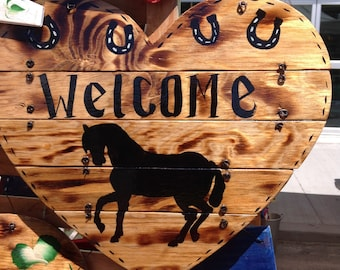 Horse Silhoutte Welcome sign