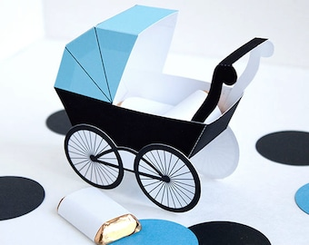 Baby Carriage Favor Box - Baby Blue & Black : DIY Printable Baby Buggy Gift Box | Pram | Baby Boy | Baby Shower Favor - Instant Download