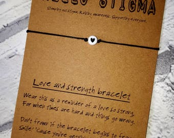Mental health awareness, strength bracelet, depression gift, mental health support, positivity gift, Friendship gift, stocking filler, heart
