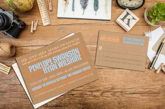 Modern Bold Typography Wedding Invitation Set, Merriment Wedding Invitation, Wedding Response Cards, Thank you cards, Bold Fonts Invites