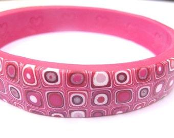 Bracelet Boho Pink, Bracelet Heart Pink, Valentine Bangle, Pink Valentine, Gift-For-Her, Gift Under 25, Pink Bracelet, Bangle Large Pink