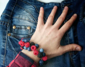 Berry bracelet of polymer clay with miniature blackberries, raspberries and blueberries, unusual accessory, fruit decoration