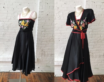 2 Piece Black Vintage Dress and Cover Up