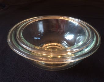 Pyrex 322 and 323 Clear Glass Mixing Bowls