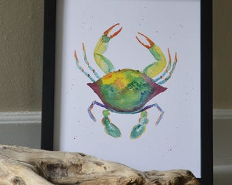 Sea Crab Watercolor Print