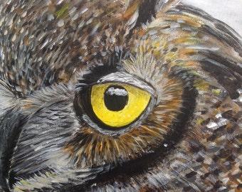 Original, owl acrylic painting