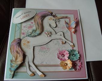 Handmade Personalised Unicorn Birthday Card