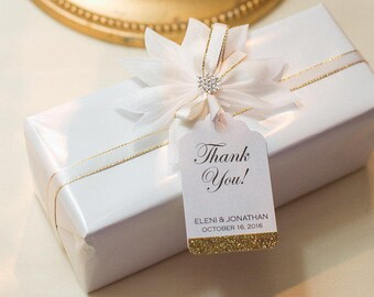 Glitter Thank You Tag - Formal Gift Tags - Wedding Favor Tags - Bridal Shower Tags - Glam Event Tag - Party Favor Tag - Various Colors