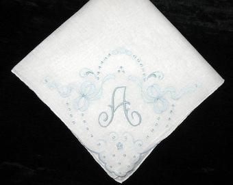 Bride Initial Handkerchief, Monogrammed Vintage, Something Old Blue, Wedding Hankies, Initial D F A N R S G P N or J