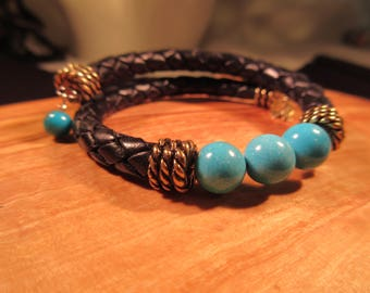 Trendy Brass Leather Turquoise Bracelet